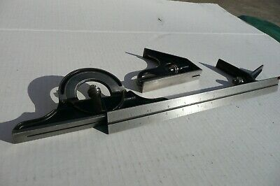 "Starrett Combination Square 4 Pc. Set 12"" Square, Center, Protractor, No Scribe"