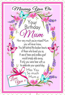 Mum Birthday In Memory Memorial Bereavement Graveside Keepsake Card & Holder