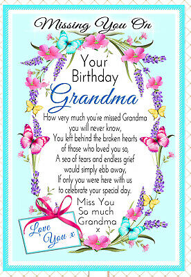 Grandma  Birthday In Memory Graveside Memorial  Keepsake Card & Free Holder