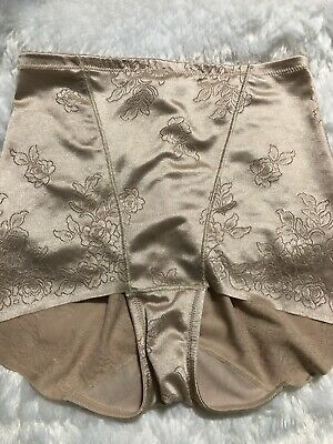 Vintage Flexees High Waisted Floral Satin Panties Shiny Size M Shaper