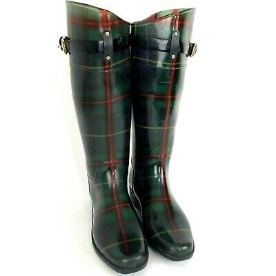 Lauren Ralph Lauren 'ROSSALYN II' Size 9 B Plaid Rubber Knee-High Rain Boots