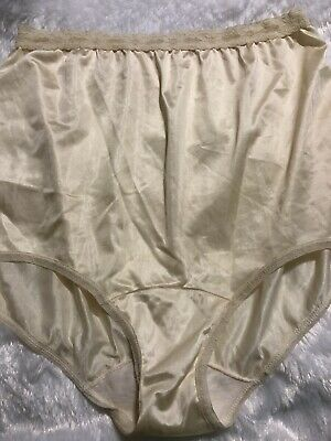 Vintage Granny Hi Waisted NYLON Tricot Brief Panties 8/xL CREAM LACE Trim Shiny