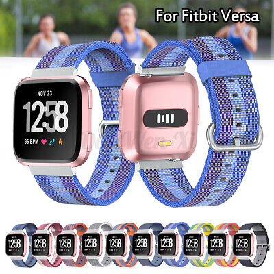 Nylon Sport Watch Band Wristwatch Strap Loop For Fitbit Versa Breathable Fabric