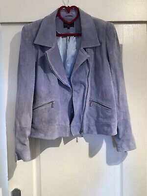 M&S Marks And Spencer Twiggy Collection Pale Blue Suede Jacket Size Uk 20 Plus