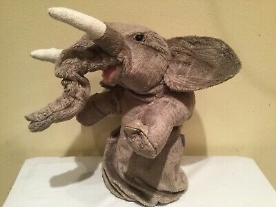 Folkmanis Elephant Stage Arm Puppet, Moveable Mouth , Pull Ring Animation Trunk