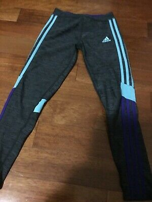 Adidas climalite girl gray with blue/purple side stri pull up active pant size:L
