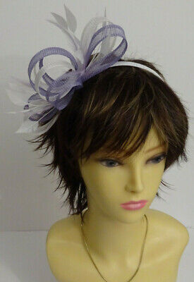 Lilac/white fascinator on headband for wedding/mother of the bride/races