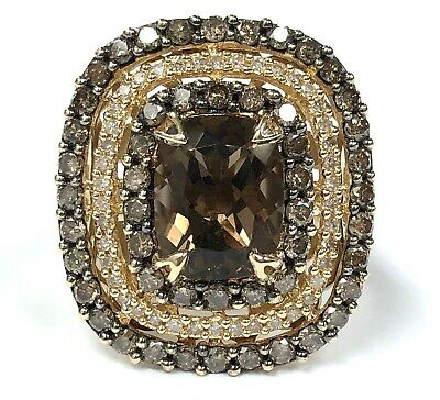 EFFY 14K Gold, Smoky Quartz, Fancy Brown & White Diamond Triple Halo Ring - Sz 7