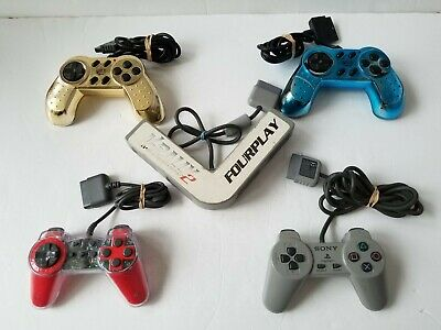 Official Sony PlayStation (PS1) Multi Tap SCPH-1070 MultiTap and 4 X Controllers