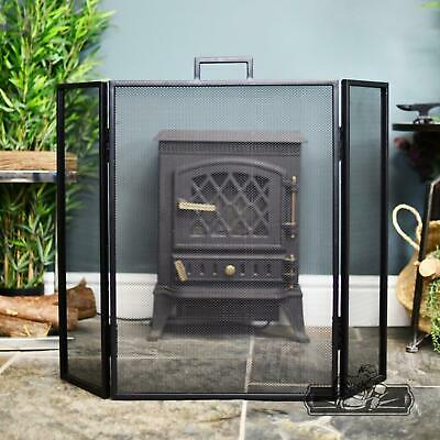 Black Square Simplistic Contemporary Three Fold Fireguard With Carry Handle