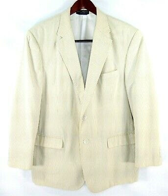 Haspel Men's Beige Tan 2 Button Seersucker Blazer Sport Suit Coat Measures 44R