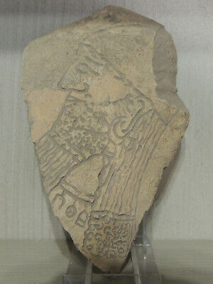 Ancient Clay Tablet With Assyrian Graffiti Drawings