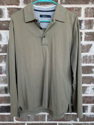 Zegna Sport Mens Polo Shirt Green Long Sleeves 100% Cotton Top M