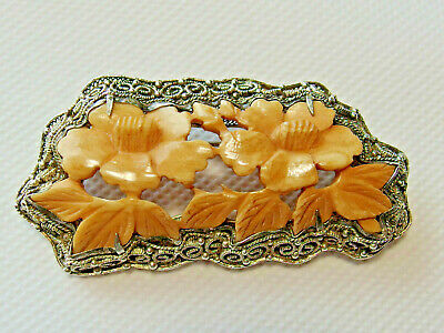 Antique CHINESE FILIGREE Gilt Silver MARKED Carved Floral Brooch Pin Export