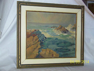Seascape Original Oil On Panel Antique Painting Framed