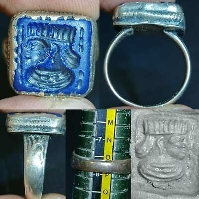 Near Eastern Old Emperor Intaglio Lapis stone Face Lovely Ring  # 121