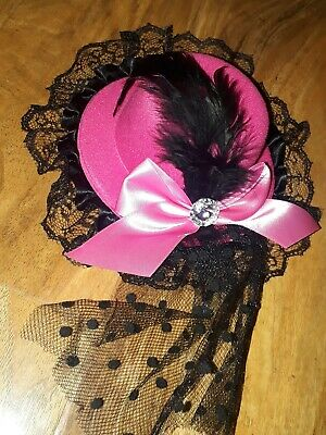 Pink and Black Fascinator Hat with Veil, Hair Clip Steam Punk Goth Quirky