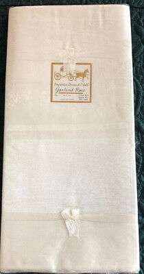 Vtg Tablecloth Damask 8 Napkins NOS  Linen 60 x 90 French Country Victorian  New