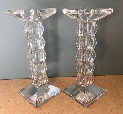 Set Of Two Marquis By Waterford Crystal Taper Candle Stick Holders