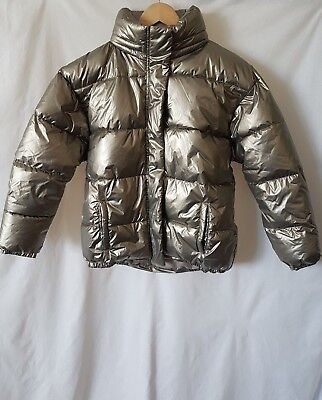 Next Girls Gold Metallic Padded Coat Shower Resistant Winter Jacket 14 Years