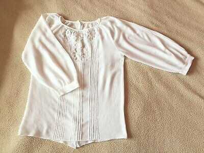 Womens Handmade 50s Real Vintage White Cotton and Crochet Lace Blouse Top S