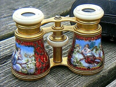 Antique Lemaire  Fi Enamel Opera Glasses Mother Of Pearl Fairy Angel