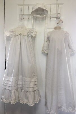 Vintage Baptism Christening Gown Dress 3 Piece Broderie Anglaise Embroidered Vtg