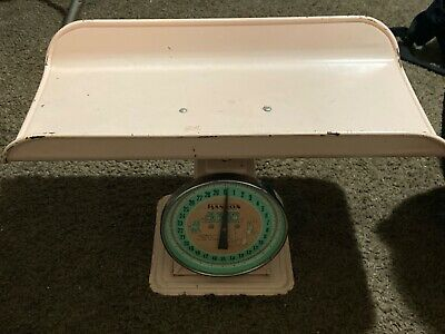 Vintage Pink Hanson Model 3025 Baby Infant Nursery Scale Nice Condition