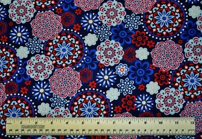 Jo Ann Fabrics Patriotic Medallions red white blue By the 1/2 yd cotton fabric