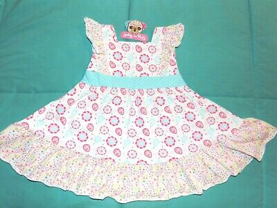 Nwt Jelly The Pug 2T Sweet Pink & Baby Blue Floral Rose Summer Dress