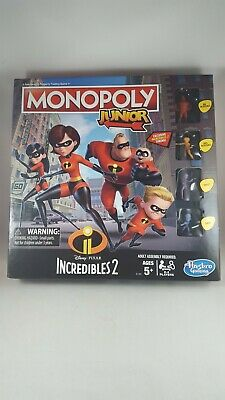 Monopoly Junior Disney Pixar Incredibles 2 Hasbro with Tokens New in Box