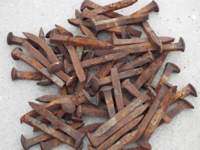 """Lot of 50 Antique Railroad Spikes, Vintage Train Track 6.5"""" Nails, Blacksmithing"""