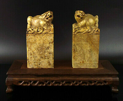Large Pair Chinese Seals Carved Soapstone Chop stamps Qing Dy 19th Century