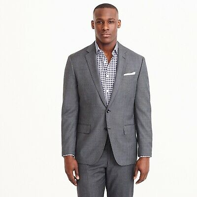 NWT J. Crew Crosby Suit Jacket - Center Vent Italian Wool Charcoal 44S $425