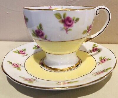 VINTAGE ROYAL STANDARD № 242 Demitasse Teacup & Saucer Yellow Floral Gold Trim