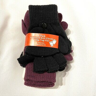 5 pack womens stretch knit gloves one size purple black white flip top pair