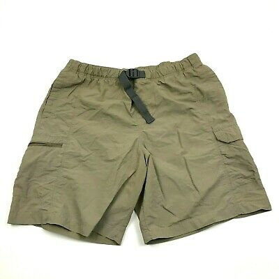 Columbia Omni-Shade Cargo Shorts Men's Size L Large Belted Zip Pockets Nylon
