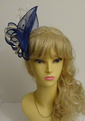 Royal blue fascinator on headband for wedding/mother of the bride/Ascot