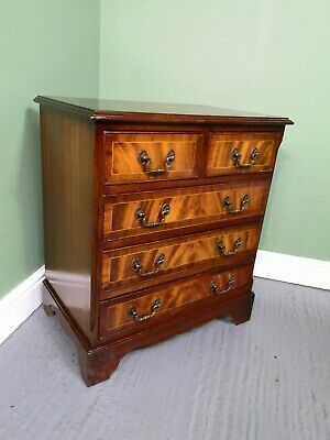 An Antique Style Flame Mahogany Small Chest of Drawers ~Delivery Available~