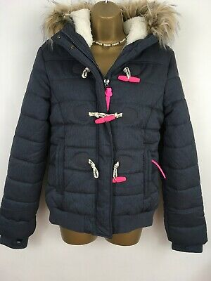 SUPERDRY Coat Puffer Jacket Fur Hood Grey Blue Pink Marl BNWTS Size L Uk 12 14