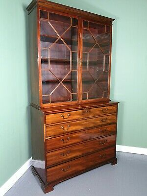 An Antique Georgian Mahogany Secretaire Bookcase Desk ~Delivery Available~