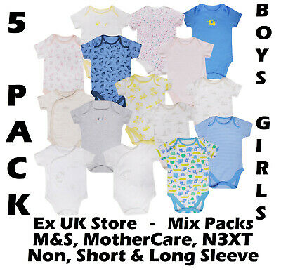 Baby Boys Girls 5 Pack Bodysuits Ex Uk Store Cotton Vests Tb-36M Mix Stores New