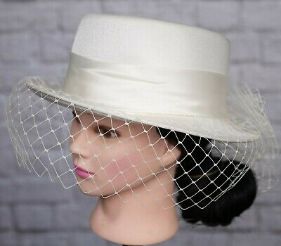 Vintage BHS Hat Ivory Bow Back Netted Face Veil Riding Formal Wedding Races 80s