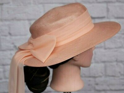 Vintage Peach Hat Peter Bettley Bow 1970s 80s Goodwood Wedding Victorian Formal