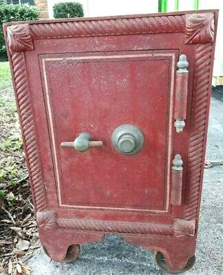 Late 1800s - c. 1905 Antique HALL'S SAFE SOLID IRON Rare Scroll Detail Old Paint
