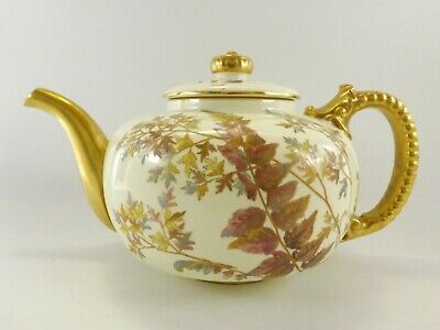 Antique Royal Worcester Tea Pot Gilt Decorated & Hand Painted Dating 1891 R273/2