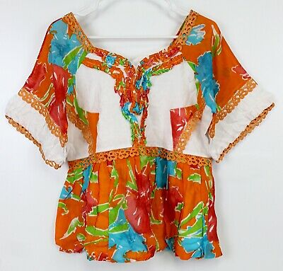 Handmade Orange Blouse Womens Floral Shirt Short Sleeve V-Neck Top Sz 16 Lace