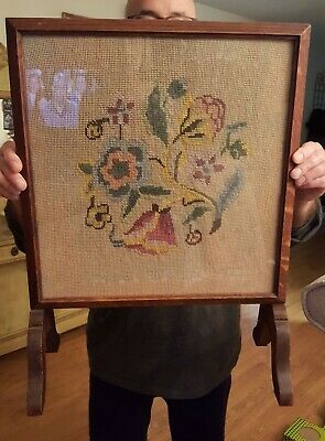 ANTIQUE Floral Needlepoint Wood Fire Place Screen w Glass On Stand