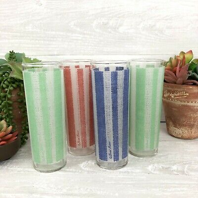 Mid Century Fred Press Colored Striped Hi Ball Cocktail Glasses, Highball Glass