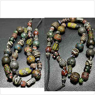 48 pc Old Wonderful Mosaic Glass Roman Mixed Beads Strand Unique Necklace